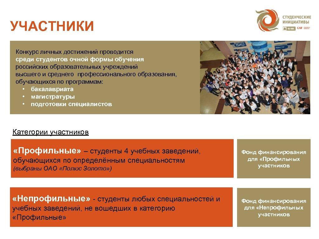 УЧАСТНИКИ Конкурс личных достижений проводится среди студентов очной формы обучения российских образовательных учреждений высшего