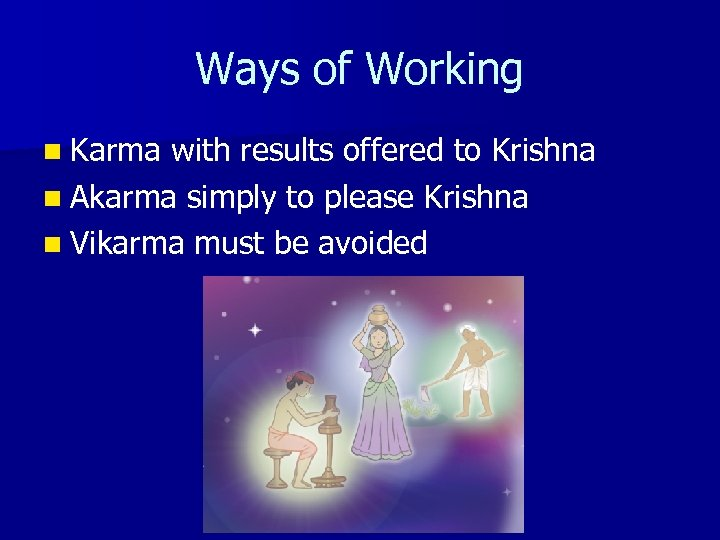 Ways of Working n Karma with results offered to Krishna n Akarma simply to