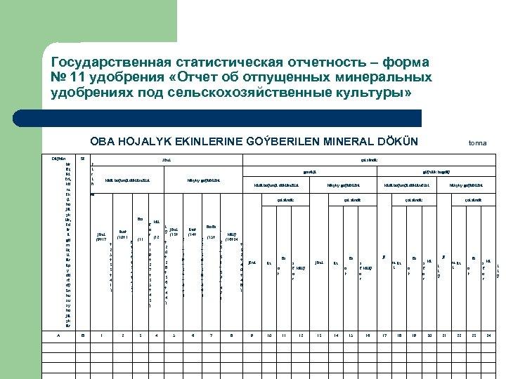 Государственная статистическая отчетность – форма № 11 удобрения «Отчет об отпущенных минеральных удобрениях под