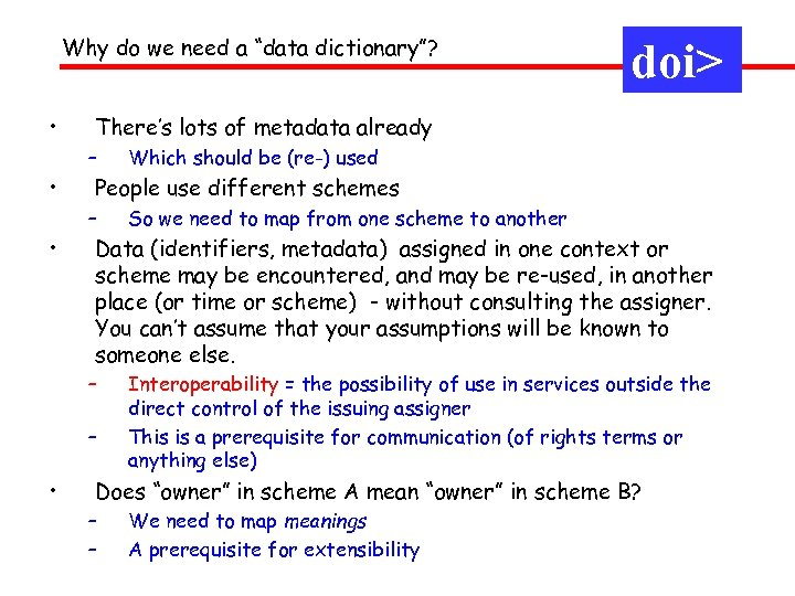 "Why do we need a ""data dictionary""? • There's lots of metadata already –"