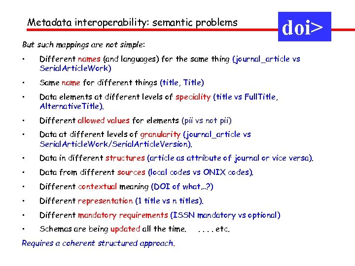Metadata interoperability: semantic problems But such mappings are not simple: doi> • Different names