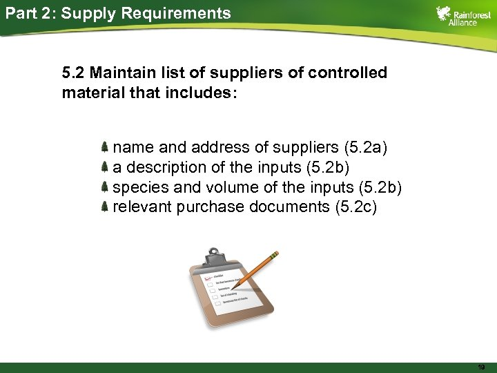 Part 2: Supply Requirements 5. 2 Maintain list of suppliers of controlled material that
