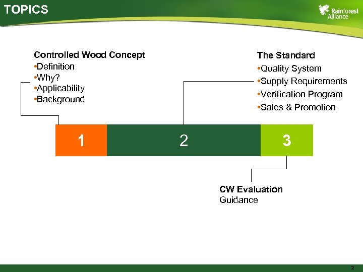TOPICS Controlled Wood Concept • Definition • Why? • Applicability • Background 1 The