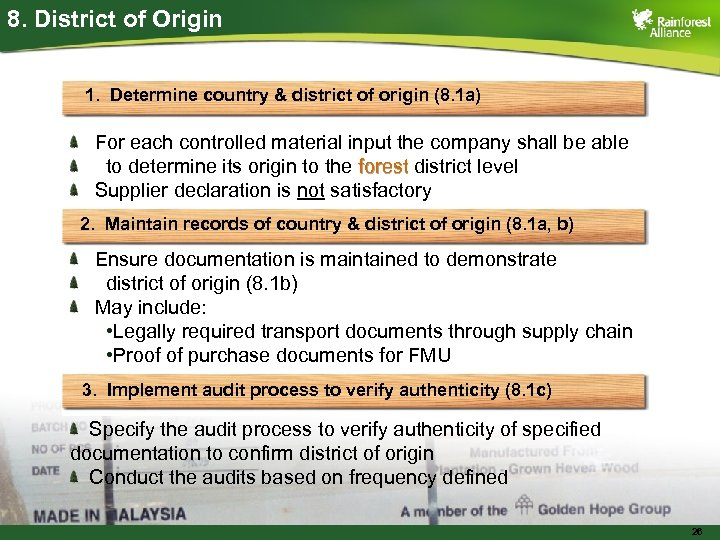 8. District of Origin 1. Determine country & district of origin (8. 1 a)