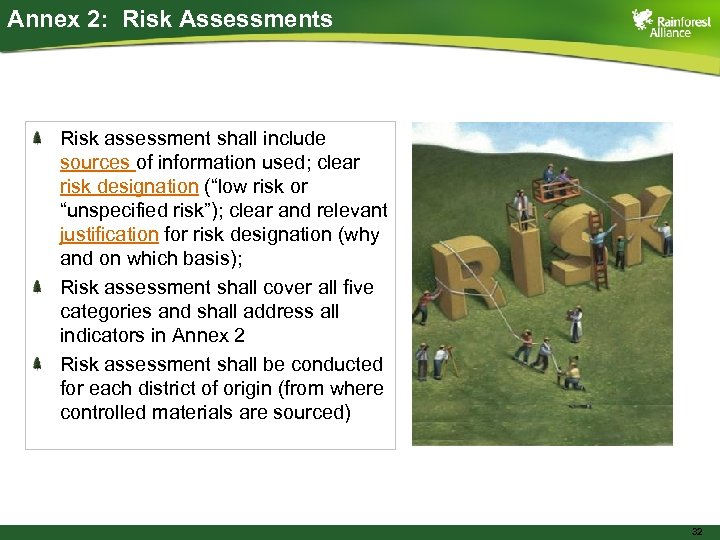 Annex 2: Risk Assessments Risk assessment shall include sources of information used; clear risk