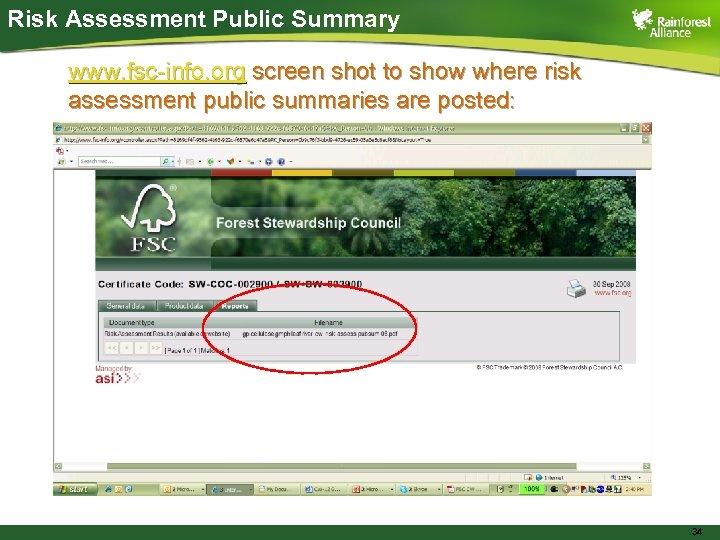 Risk Assessment Public Summary www. fsc-info. org screen shot to show where risk assessment