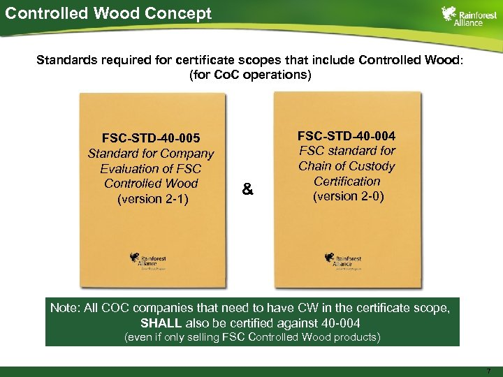 Controlled Wood Concept Standards required for certificate scopes that include Controlled Wood: (for Co.