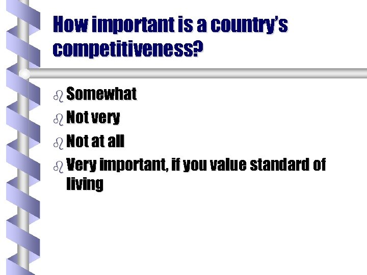 How important is a country's competitiveness? b Somewhat b Not very b Not at