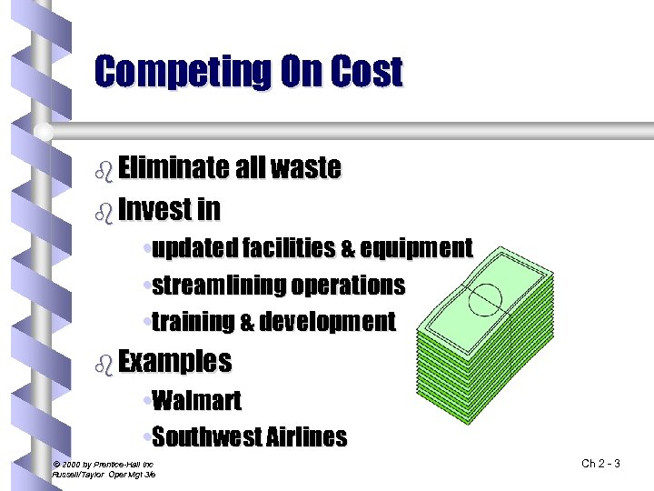 Competing On Cost b Eliminate all waste b Invest in • updated facilities &