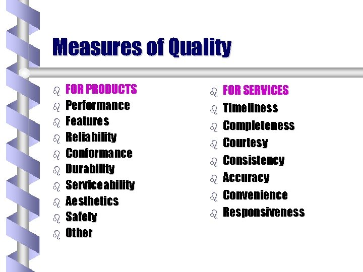 Measures of Quality b b b b b FOR PRODUCTS Performance Features Reliability Conformance