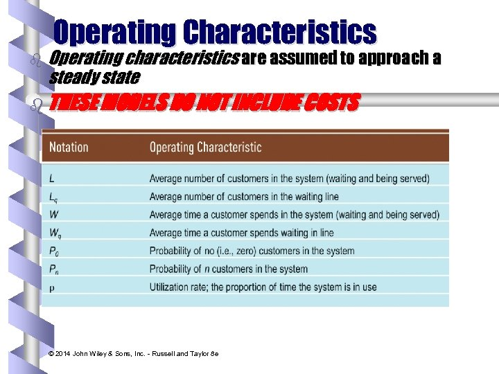 Operating Characteristics b Operating characteristics are assumed to approach a steady state b THESE