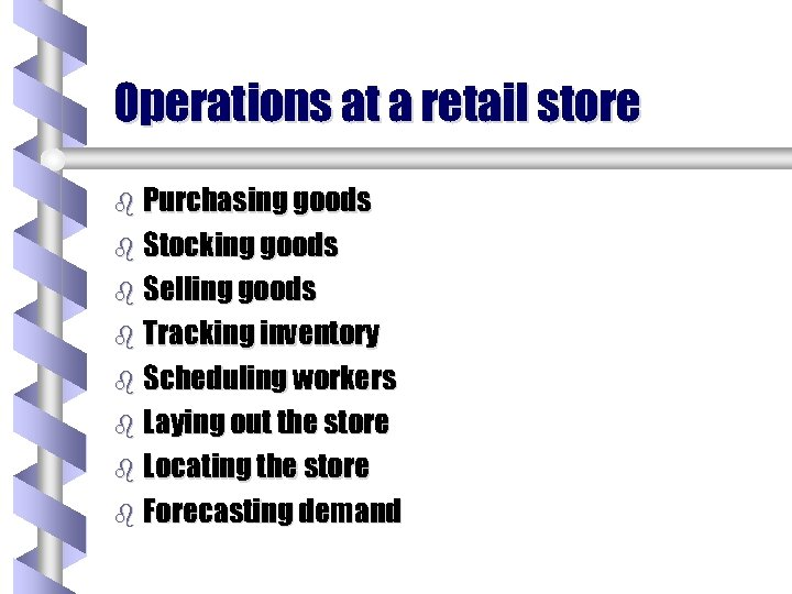 Operations at a retail store b Purchasing goods b Stocking goods b Selling goods