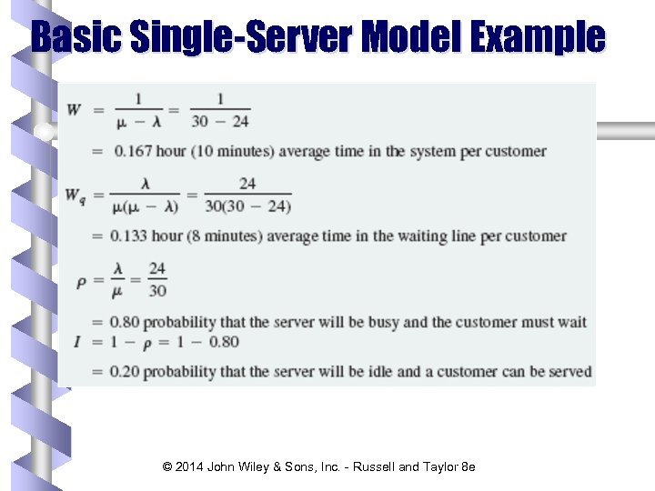Basic Single-Server Model Example © 2014 John Wiley & Sons, Inc. - Russell and