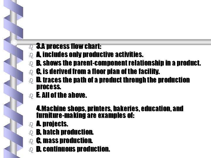 b b b b b 3. A process flow chart: A. includes only productive