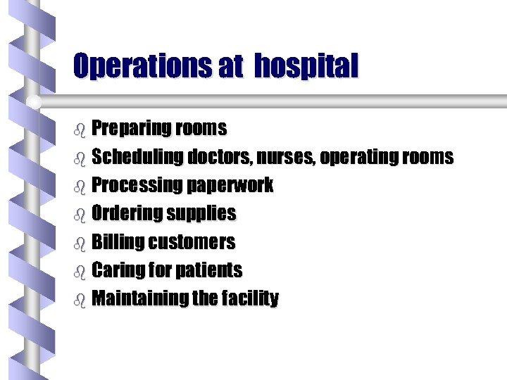 Operations at hospital b Preparing rooms b Scheduling doctors, nurses, operating rooms b Processing