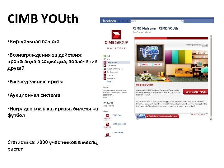 CIMB YOUth • Виртуальная валюта • Вознаграждения за действия: пропаганда в соцмедиа, вовлечение друзей