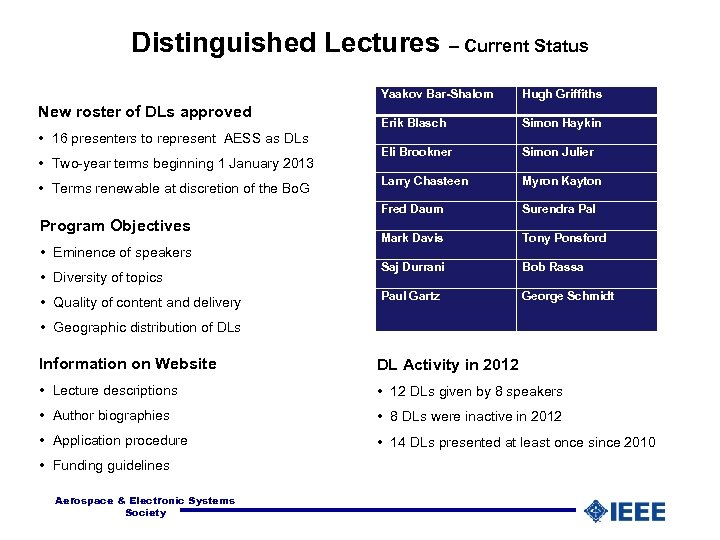 Distinguished Lectures – Current Status Yaakov Bar-Shalom New roster of DLs approved • 16