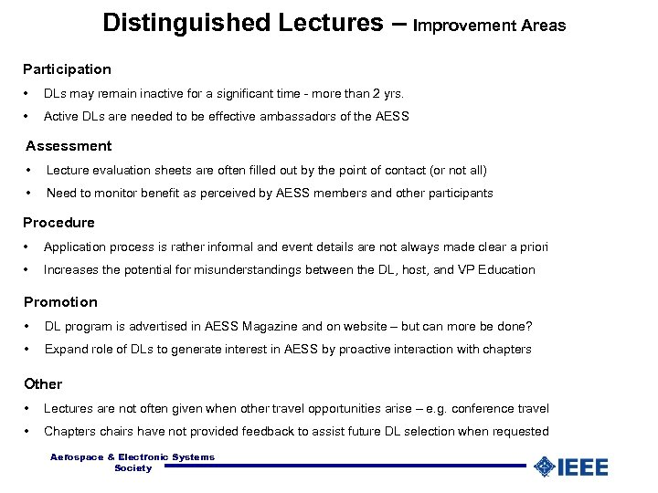 Distinguished Lectures – Improvement Areas Participation • DLs may remain inactive for a significant