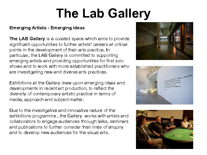 The Lab Gallery Emerging Artists - Emerging Ideas The LAB Gallery is a curated