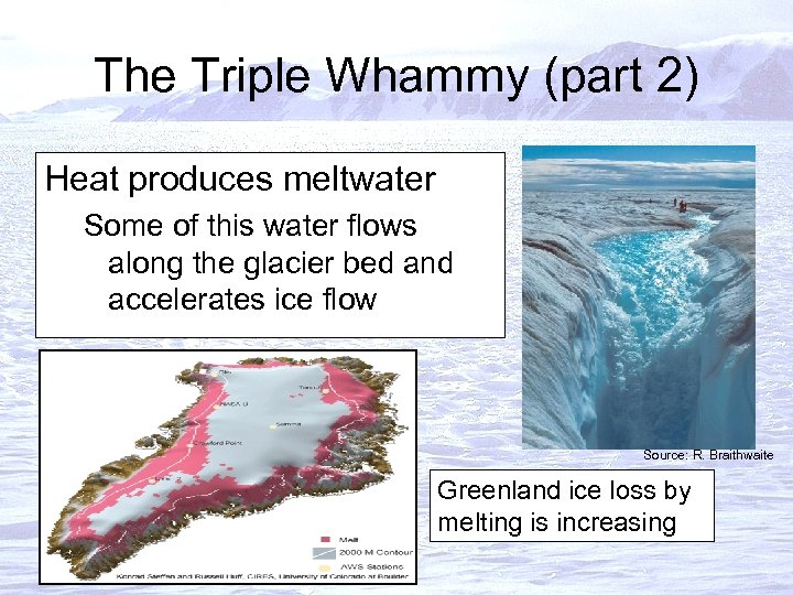 The Triple Whammy (part 2) Heat produces meltwater Some of this water flows along