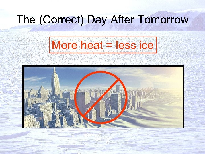 The (Correct) Day After Tomorrow More heat = less ice