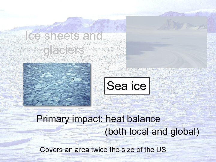 Ice sheets and glaciers Sea ice Primary impact: heat balance (both local and global)