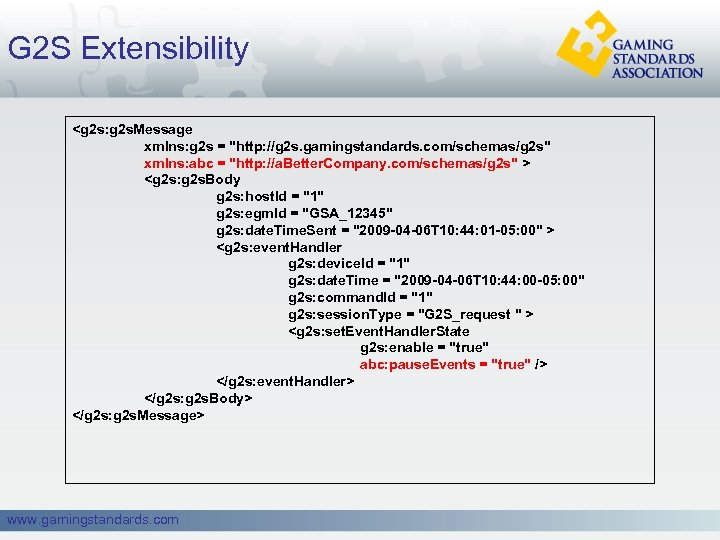 G 2 S Extensibility <g 2 s: g 2 s. Message xmlns: g 2