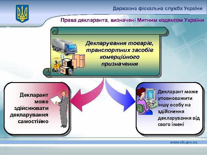 Державна фіскальна служба України Права декларанта, визначені Митним кодексом України Декларування товарів, транспортних засобів