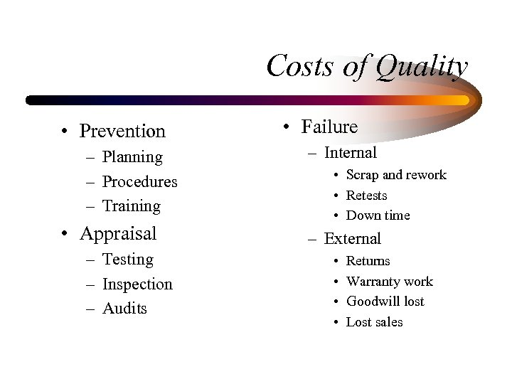 Costs of Quality • Prevention – Planning – Procedures – Training • Appraisal –
