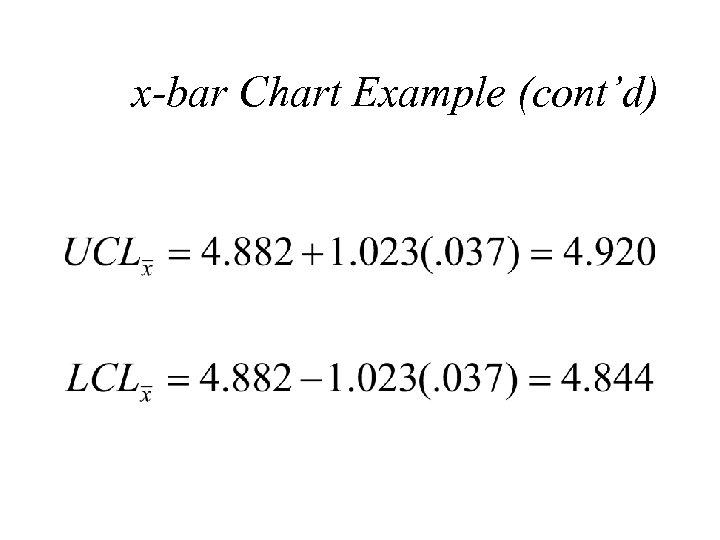 x-bar Chart Example (cont'd)