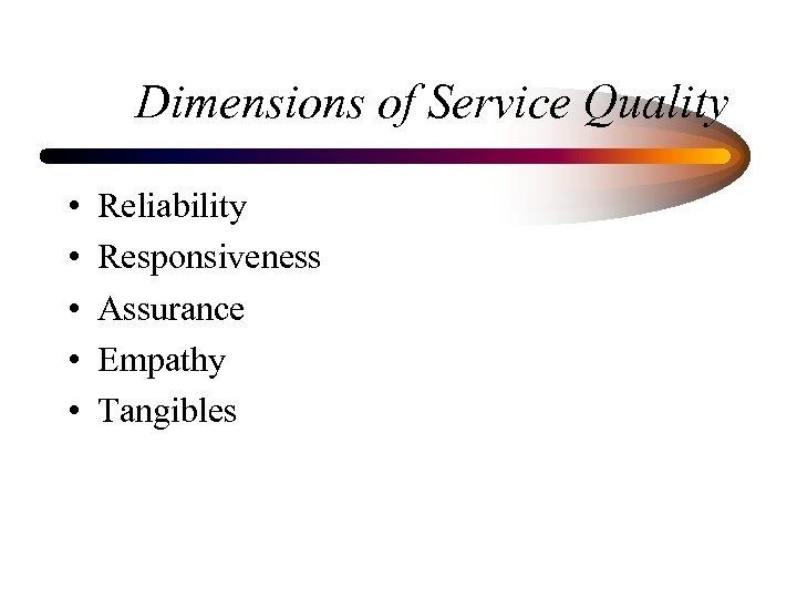 Dimensions of Service Quality • • • Reliability Responsiveness Assurance Empathy Tangibles