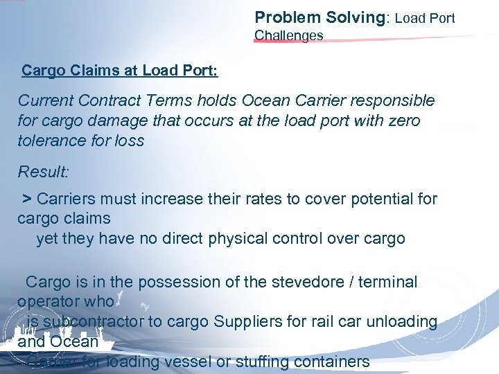 Problem Solving: Load Port Challenges Cargo Claims at Load Port: Current Contract Terms holds