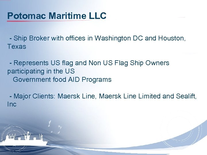 Potomac Maritime LLC - Ship Broker with offices in Washington DC and Houston, Texas