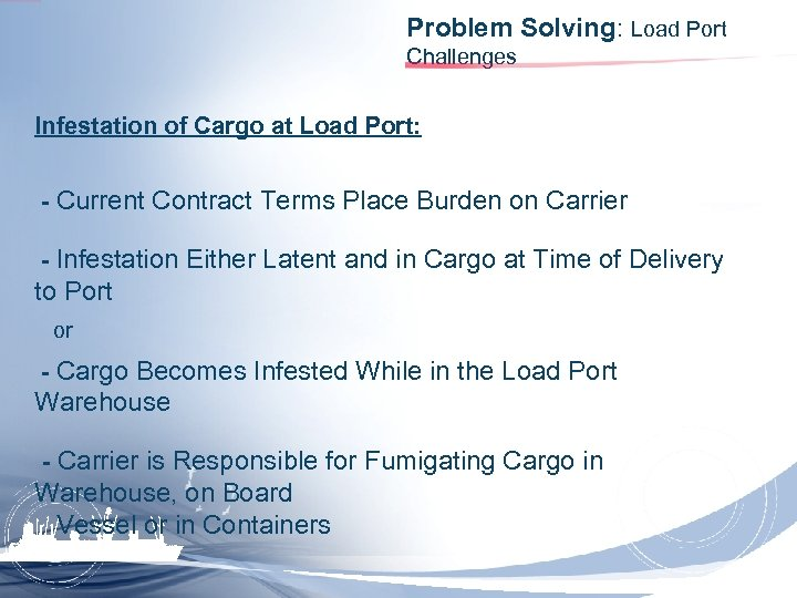 Problem Solving: Load Port Challenges Infestation of Cargo at Load Port: - Current Contract