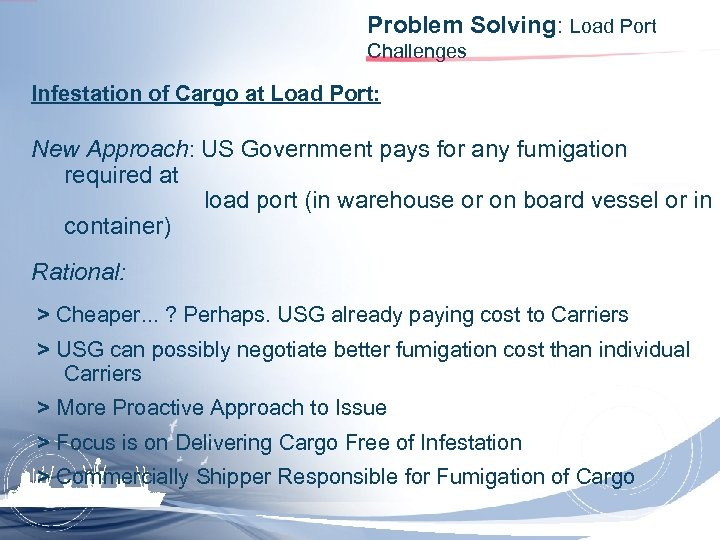 Problem Solving: Load Port Challenges Infestation of Cargo at Load Port: New Approach: US