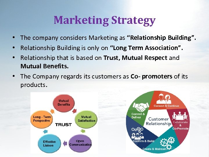 "Marketing Strategy • The company considers Marketing as ""Relationship Building"". • Relationship Building is"