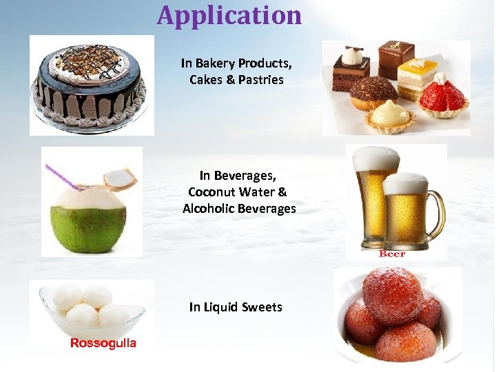Application In Bakery Products, Cakes & Pastries In Beverages, Coconut Water & Alcoholic Beverages