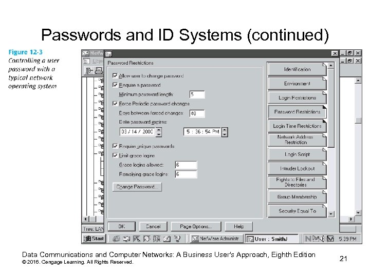 Passwords and ID Systems (continued) Data Communications and Computer Networks: A Business User's Approach,