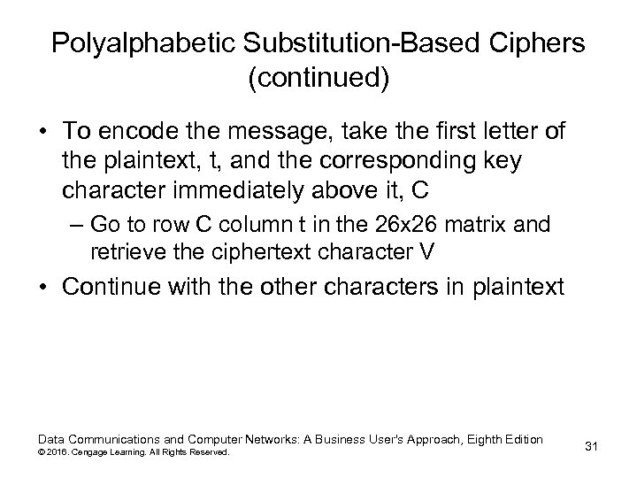 Polyalphabetic Substitution-Based Ciphers (continued) • To encode the message, take the first letter of