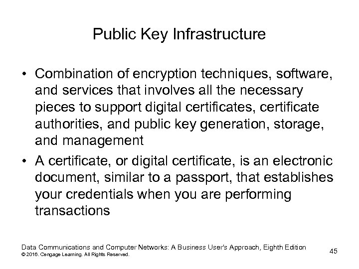Public Key Infrastructure • Combination of encryption techniques, software, and services that involves all