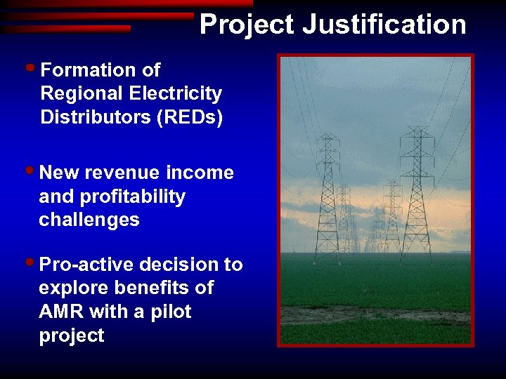 Project Justification Formation of Regional Electricity Distributors (REDs) New revenue income and profitability challenges