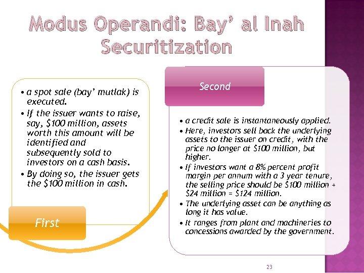 Modus Operandi: Bay' al Inah Securitization • a spot sale (bay' mutlak) is executed.