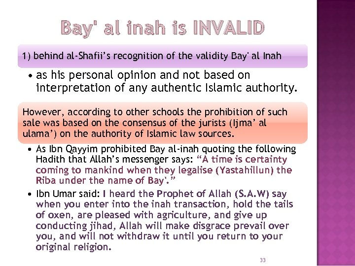 Bay' al inah is INVALID 1) behind al-Shafii's recognition of the validity Bay' al