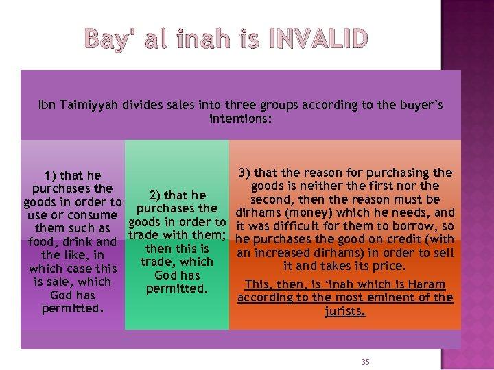 Bay' al inah is INVALID Ibn Taimiyyah divides sales into three groups according to
