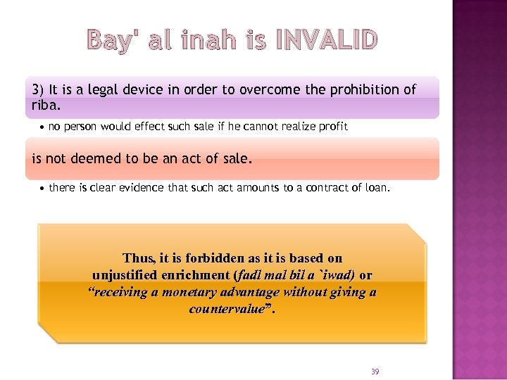 Bay' al inah is INVALID 3) It is a legal device in order to