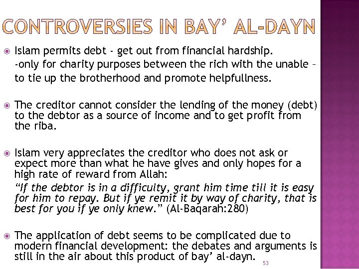 Islam permits debt - get out from financial hardship. -only for charity purposes