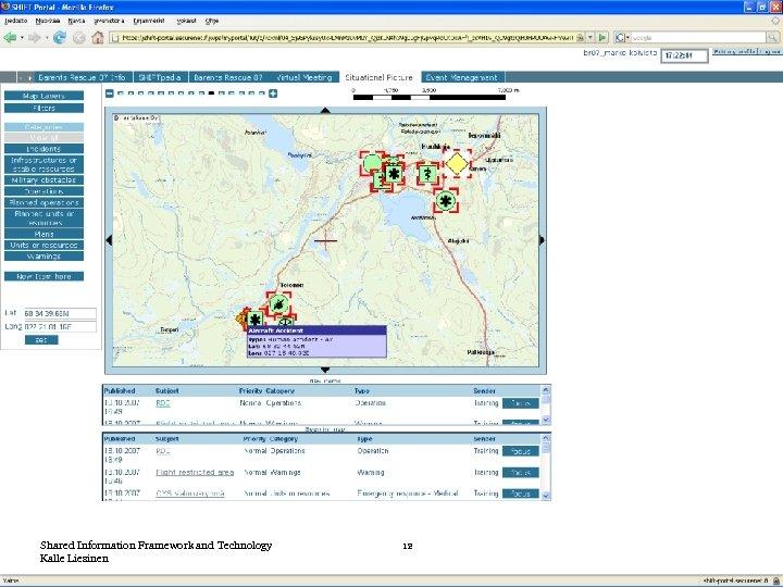 Shared Information Framework and Technology Kalle Liesinen 12