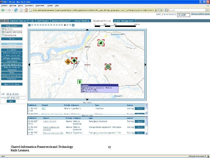 Shared Information Framework and Technology Kalle Liesinen 13
