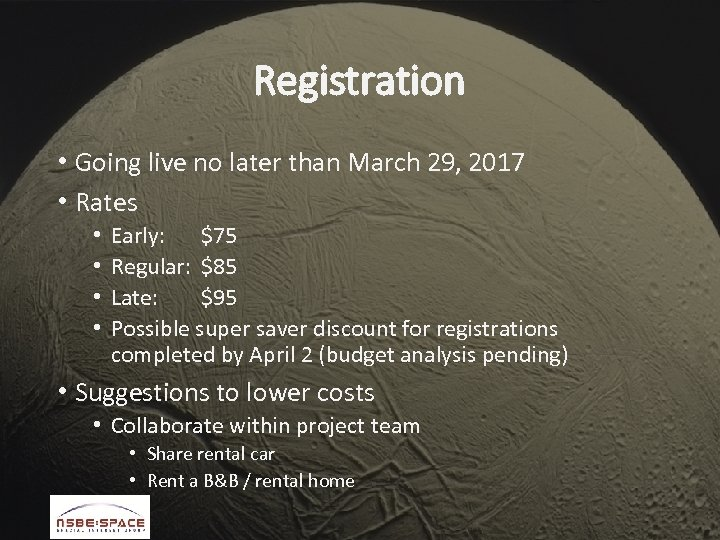 Registration • Going live no later than March 29, 2017 • Rates • •