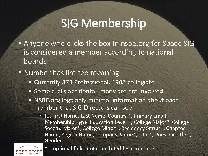 SIG Membership • Anyone who clicks the box in nsbe. org for Space SIG